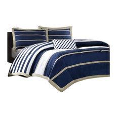 Peach Skin Printed Comforter 4-Piece Set, Navy, Full/Queen