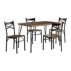 Wood And Metal 5 Piece Dining Set Brown And Bronze