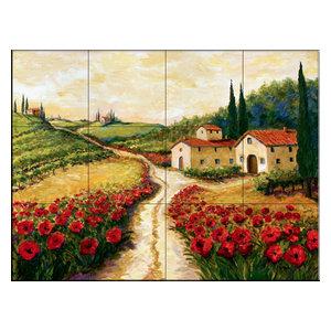 Tile Mural, Red Poppy Road by Joanne Margosian