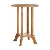 Traditional Side End Table in Rubberwood with Curved Legs