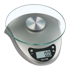 Taylor® 3831S Digital Kitchen Scale With Silvertone Base And Glass Platform