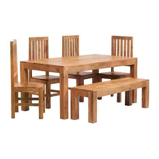 Santiago Light Mango 6-Piece Dining Table Set With Bench, Wooden Chairs