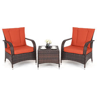 Costway 3PCS Outdoor Patio Mix Brown Rattan Furniture Set Seat Cushioned Orange