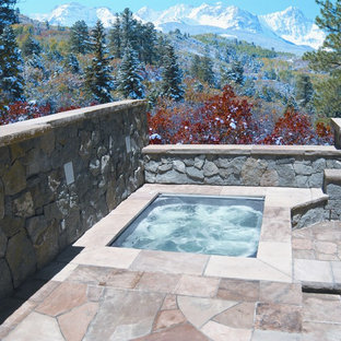 Inspiration for a rustic hot tub remodel in Denver