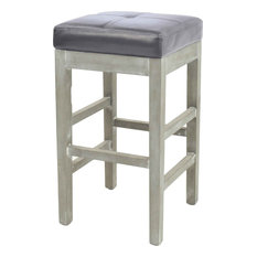 New Pacific Direct Inc Valencia Backless Bonded Leather Counter Stool Payne S Gray