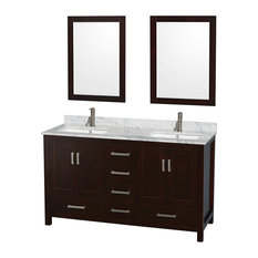 "Sheffield 60"" Espresso Double Vanity, Carrera Marble Top, Undermount Square Sink"