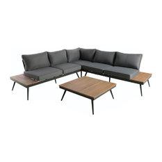 GDF Studio Deborah Outdoor Wood and Aluminum V-Shaped 5 Seater Sofa Set, Natural