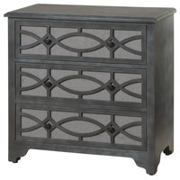 Stylecraft 3-Drawers Wooden Chest With Linen Drawer Fronts, Brushed