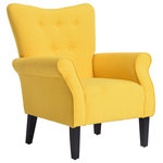 Belleze - High Wingback Linen Armchair, Citrine Yellow - This club chair allows you to enjoy all that your room has to offer, whether it is your living room, office, home office, or study. Made from sturdy wood, the soft, beautiful fabric will not only add a breath of freshness to whatever room you decide to place this chair in, but also allows you sit back and relax.