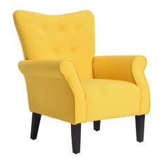 Belleze High Wingback Linen Armchair Citrine Yellow Armchairs And Accent Chairs