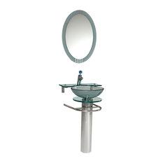 "Fresca Ovale 24"" Modern Glass Bathroom Vanity, Frosted Edge Mirror"