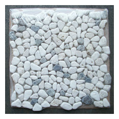 "12""x12"" Travertine Mix Emporador Dark River Rocks Pebble Stone Mosaic Tumbled"