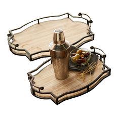 Decorative Trays, Set Of 2, Brown/Black