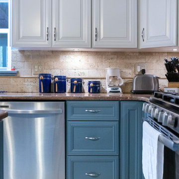 Transitional Kitchen with Two-Tone White and Blue Cabinets in Adelphia, MD