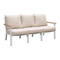 Furniture of America Sourcane Aluminum Padded Seat Patio Sofa in White and Oak