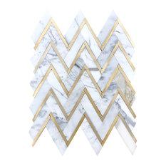 Calacatta Gold Marble & Yellow Gold Herringbone Chevron Polished Mosaics Tiles