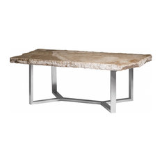 83-inchL Stone Dining Table One Of A Kind Free Form Onyx Top Stainless Steel