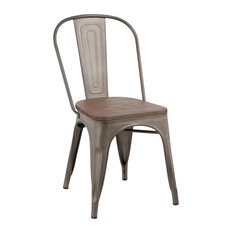 Marvelous Btexpert   Industrial Wood Metal Antique Style Rustic Distress Dining Chairs,  Set Of 4