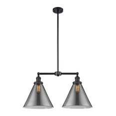 "2-Light X-Large Cone 22"" Chandelier, Matte Black, Glass: Smoked"