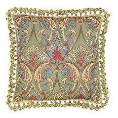 """New Aubusson Throw Pillow 22""""x22"""" Red Blue"""