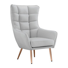 Sofamania   Modern Tufted Faux Bonded Leather Accent Chair, Rose Gold Color  Legs, Light