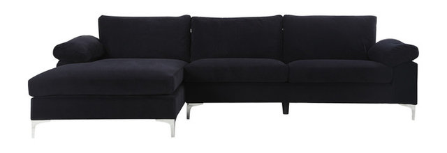 Modern Large Velvet Fabric Sectional Sofa L Shape Couch