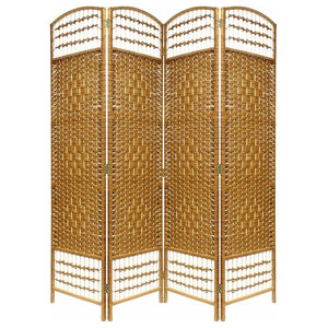 Traditional Folding Room Divider in Natural Oak Wicker, Perfect for your Privacy