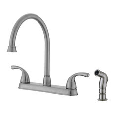 Ultra Faucets UF21343 Brushed Nickel 2-Handle Kitchen Faucet With Side-Spray