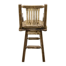 Captain's Barstool Back And Swivel Stain And Finish Buckskin Pattern