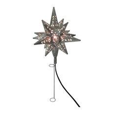 Tin Moravian Star Light Tree Topper, Pewter