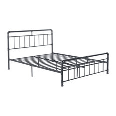 Sally Industrial Queen Iron Bed Frame, Charcoal Gray
