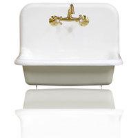 "New 24"" High Back Farm Sink Cast Iron Original Porcelain Wall Mount Sink Package"