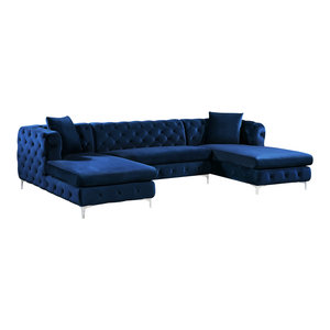 Astonishing Sabrina Velvet 2 Piece Reversible Sectional Traditional Pabps2019 Chair Design Images Pabps2019Com