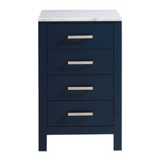 """Jacques 20"""" Side Cabinet With White Carrara Marble Top, Navy Blue"""