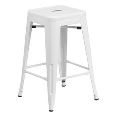 "24""H Backless White Metal Indoor-Outdoor Counter Height Stool, Square Seat"