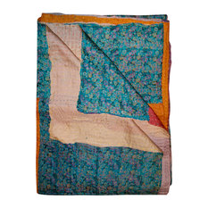 "100% Silk Kantha Throw, Multi, 50""x70"""