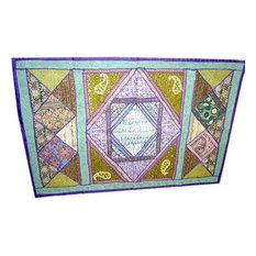 Mogulinterior - Vintage Sari Wall Hanging, Blue Olive Green Embroidered Indian Tapestry Throw - Tapestries