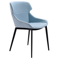 Kenna Modern Dining Chair, Matte Black Finish and Blue Fabric, Set of 2