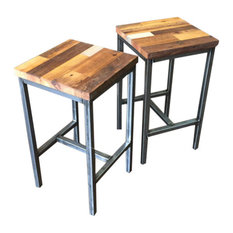 Reclaimed Wood Industrial Patchwork Barn Wood Bar Stools Steel Base