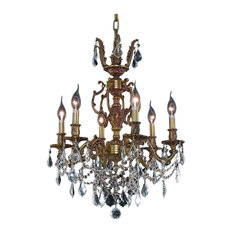 Elegant Lighting Marseille 6-Light Crystal Chandelier, Crystal Clear, French Gol
