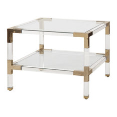 Worlds Away Connor Two Tier Acrylic Side Table Brass