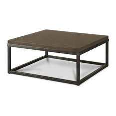 French Industrial Oak Wood Metal Square Cocktail Table Brownstone Coffee Tables
