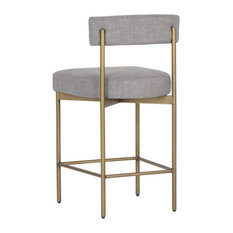 Grey Fabric Kitchen Island Stool W/Antique Brass Frame By ARTeFAC Grey