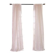 "Off White Textured Vintage FauxDupioni Silk Curtain Single Panel, 50""x84"""
