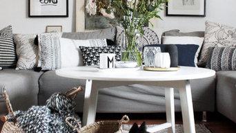Wohnzimmer im Vintage-Boho-Look mit einem Hauch Skandi