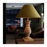 Country table lamp with velvet shade moss green 50 cm - Catnip