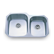 Stainless Steel Undermount Kitchen Sink with Two Unequal Bowls