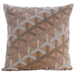 Beige Japanese Design 50x50 Cotton Linen Cushion Cover, Tiffany Gold