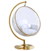 Luna Metal Acrylic Swing Bubble Accent Chair With Stand, White, Gold Base