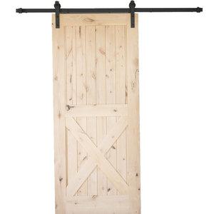 "Artisan Hardware Knotty Alder 2 Panel Single X Barn Door Unfinished, 36""x84"""